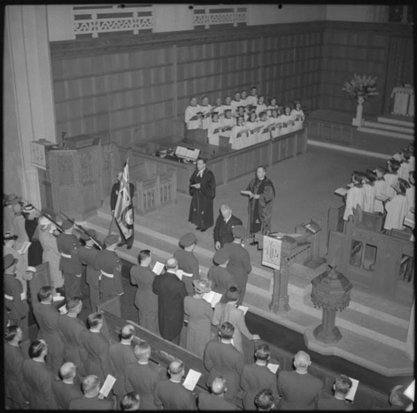 Depositing the RCAF colours in Timothy Eaton Memorial Church, St. Clair Ave. W., Toronto