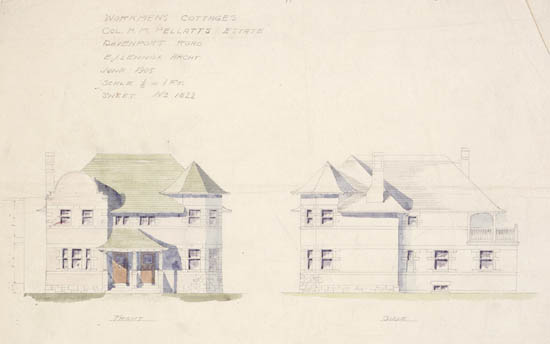 Workmen's cottages at Casa Loma;  H. M. Pellatt's Estate, front and side elevations
