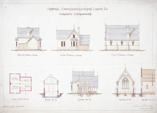 Chapel, Superintendants Lodge and Toronto Necropolis; elevations, plans and sections