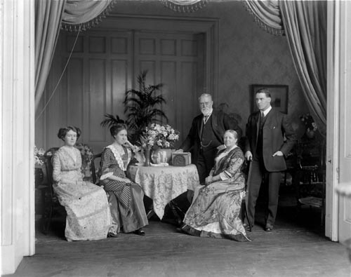 Lieutenant-Governor John Gibson and family, Government House.  l-r:  Miss Margaret Gibson, Miss Eugenia Gibson, Sir John Gibson, Lady Gibson, Mr. Hope Gibson.