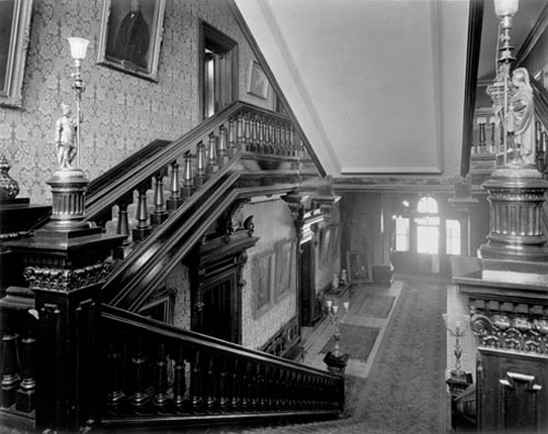 Main staircase, looking down hall to entrance, Government House