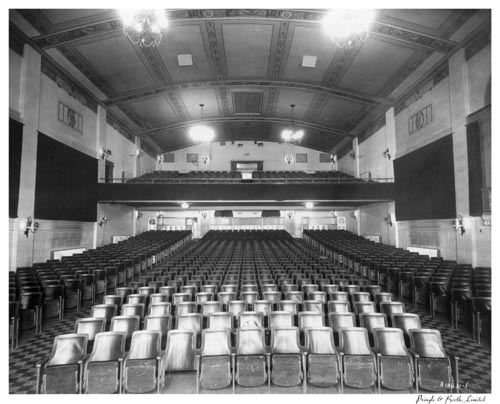 Auditorium and balcony, stage to standee, Belsize Theatre, Toronto