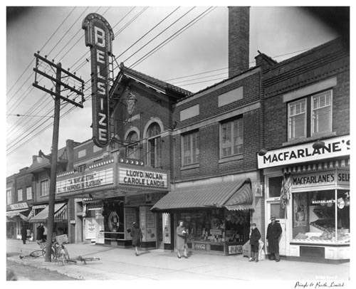 Exterior of the Belsize Theatre and adjacent shops, Toronto