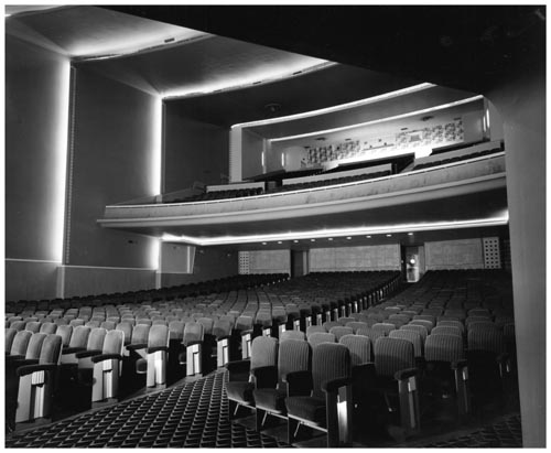 Auditorium and balcony in University Theatre, Toronto