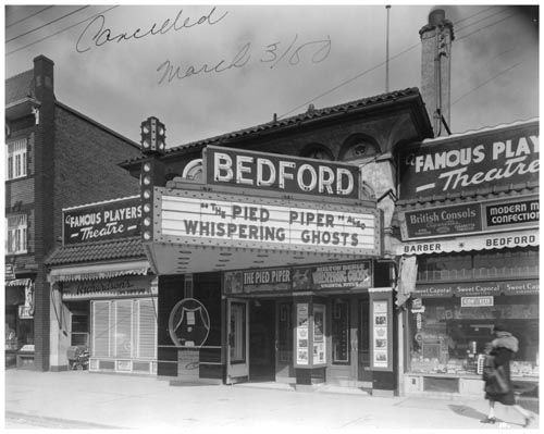 Marquee of Bedford Theatre, and nearby businesses, Toronto