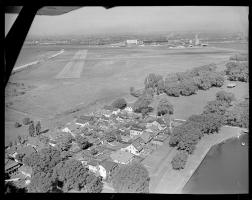 Aerial view showing part of the Toronto Island airport and houses on Hanlan's Point