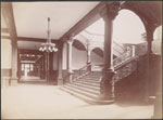Historic photo from 1895 - Interior of Parliament Buildings, Queen's Park - showing a staircase in Queens Park
