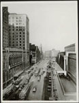 Historic photo from 1920 - Front Street - Royal York on left, Union Station on the right in Financial District