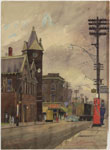 Historic photo from 1948 - Painting by James Blomfield of Dundas and Keele St - West Toronto Junction Town Hall (now demolished) in The Junction