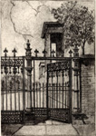 Historic photo from 1930 - Sketch of a Cow gate outside Osgoode Hall on Queen Street West at University Ave in City Hall