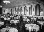 Historic photo from 1954 - Banquet Hall set with tables and chairs in the Royal York Hotel in Financial District
