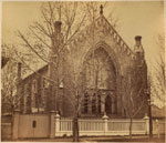 Historic photo from 1867 - Unitarian Church - designed in the neo-Gothic style by William Thomas 1854, demolished 1949 in Garden District