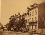 Historic photo from 1867 - Queens Hotel before it expanded - photo by Octavius Thompson in Financial District