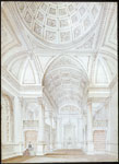 Historic photo from 1858 - Sketch of Osgoode Hall library and dome; interior perspective in City Hall