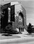 Historic photo from 1950 - Holy Blossom Temple - front entrance with vines in Forest Hill
