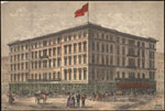 Historic photo from 1870 - Rossin House (then the Prince George Hotel) at King and York Streets (hand-coloured print) in Financial District