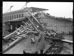 Historic photo from Monday, May 20, 1940 - May 19th storm damage at the Don Rowing Club with Maple Leaf Baseball stadium in background in Harbourfront
