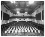 Historic photo from 1942 - Belsize Theatre - auditorium and balcony, stage to standee in Davisville Village