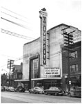Historic photo from Friday, November 5, 1948 - University Theatre marquee and sign for Joan of Arc with Ingrid Bergman in Yorkville