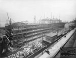 Historic photo from Tuesday, April 3, 1917 - Steelwork frame under construction - Union Station in Financial District