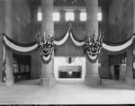 Historic photo from Wednesday, August 10, 1927 - Union Station - entrance to trains.  Decorated for the opening visit by the Prince of Wales. in Financial District