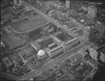 Historic photo from 1968 - Aerial view of the McLaughlin Planetarium, Royal Ontario Museum, and U of T Varsity Stadium in Royal Ontario Museum