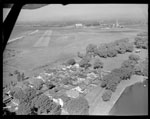 Historic photo from 1949 - Aerial view showing part of the Toronto Island airport and houses on Hanlans Point in Toronto Island
