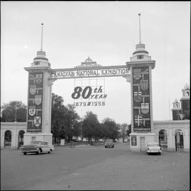 Canadian National Exhibition Dufferin Street gate, celebrating the Exhibition's 80th anniversary