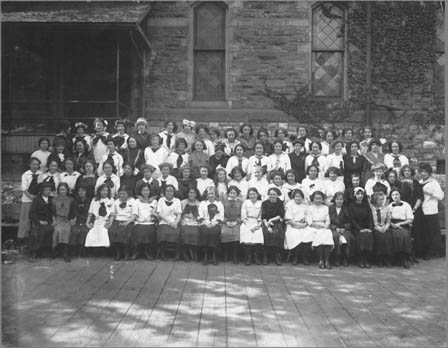 Girls class at Jarvis Collegiate Institute, Irene Lindala and Impi Svenski were the first Finnish girls in the  Institute