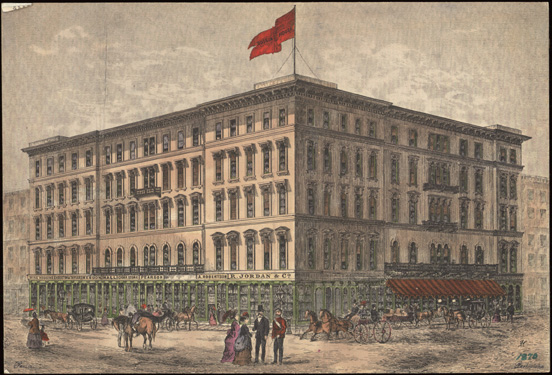 A hand-coloured print of Rossin House, a Toronto Hotel