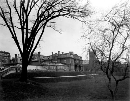Southwest view of the grounds from Wellington Street, Government House