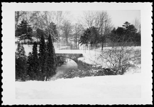 Winter scene showing the bridge in front of Chorley Park