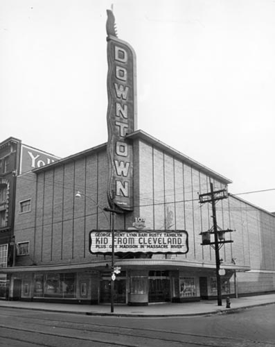 Exterior and sign of Downtown Theatre, Toronto