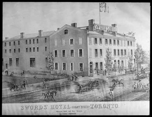 Photograph of a lithograph showing Sword's Hotel on Front Street, Toronto