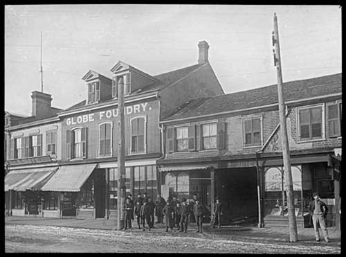 View of the Globe Foundry on Queen Street West, demolished in 1890 to make way for Toronto City Hall